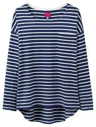 Joules Drop Shoulder Stripe Top French Navy