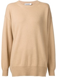 Jil Sander Crew Neck Sweater Nude And Neutrals