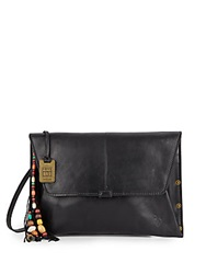 Frye Hillary Leather Convertible Envelope Clutch Black