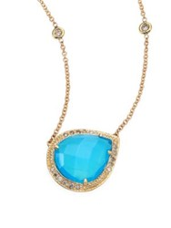 Jacquie Aiche Partial Pave Diamond Blue Opal And 14K Yellow Gold Teardrop Necklace Gold Opal