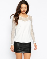 Only Sweetheart Neck Top With Lace Sleeves Clouddancer