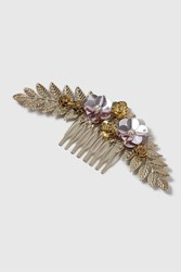 Topshop Leaf And Flower Hair Comb Gold