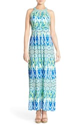 Women's London Times 'Yile' Ikat Print Jersey Maxi Dress Green Multi