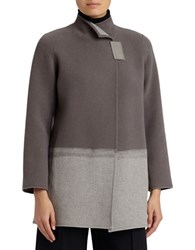 Lafayette 148 New York Two Tone Long Sleeve Valina Coat Concrete
