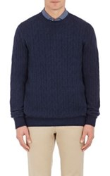 Ermenegildo Zegna Men's Cashmere Cable Knit Sweater Navy