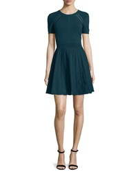 Milly Short Sleeve Pointelle Trim Fit And Flare Dress Peacock