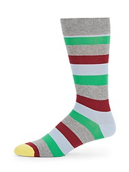 Happy Socks Striped Mid Calf Socks 1 Pack Grey Pink