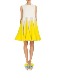 Delpozo Pleated Tricolor Trapeze Dress Daffodil Yellow
