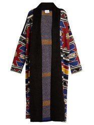 Stella Jean Saltare Wool Blend Cardigan Blue Multi