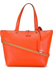 Bally Contrast Cross Body Strap Tote Bag Yellow And Orange