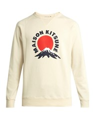 Maison Kitsune Mount Fuji Print Crew Neck Cotton Sweatshirt Cream