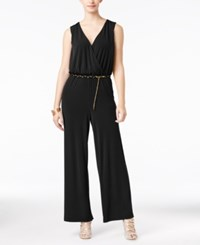 Thalia Sodi Surplice Belted Jumpsuit Only At Macy's Black