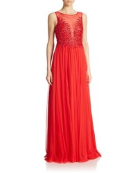 Basix Ii Sequined Illusion Front Gown Red