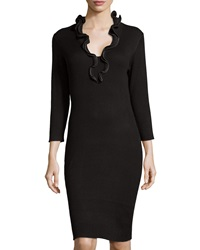 Neiman Marcus Ruffle Collar Ribbed Dress Black