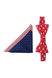 Alara Silk American Flag Bow Tie And Pocket Square Set Red