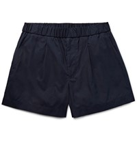Gucci Cotton And Silk Blend Shorts Navy
