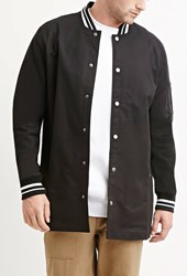 Forever 21 Varsity Striped Longline Jacket Black White