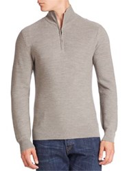 Ralph Lauren Purple Label Zip Front Cashmere Blend Cardigan Light Grey