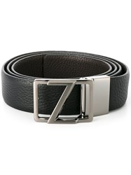 Z Zegna Dark Grey Hardware Belt Black