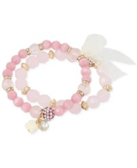 Macy's M. Haskell Gold Tone Pink Tonal Faceted Bead Stretch Bracelet Set