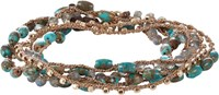 Feathered Soul Turquoise And Labradorite Beaded Necklace Wrap Bracelet C Colorless