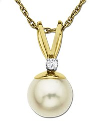 Lord And Taylor Freshwater Pearl Pendant With Diamond Accent In 14 Kt. Yellow Gold 0.05 Ct. T.W. 6 Mm Pearl Gold