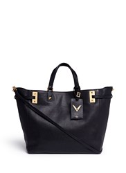 Valentino 'My Rockstud' Double Handle Leather Tote Black