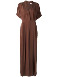 Max Mara V Neck Jumpsuit Brown