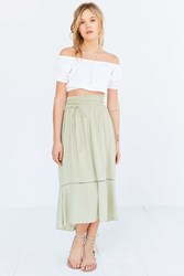 Kimchi And Blue Kimchi Blue Meadow Lace Up Midi Skirt Chartreuse