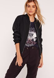 Missguided Lightweight Zipped Sleeve Pocket Bomber Jacket Black Black