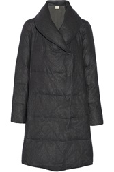 Dknypure Quilted Wool Flannel Coat Gray