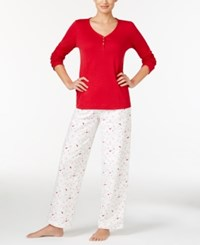 Charter Club Henley Top And Printed Flannel Pants Pajama Set Only At Macy's Red Ivory Cardinal