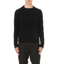 Isabel Benenato Semi Sheer Wool Blend Jumper Black
