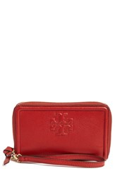 Tory Burch Women's 'Thea' Leather Wristlet Red Rust Red
