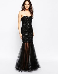 Forever Unique Mercury Bandeau Embellished Fishtail Maxi Dress Black