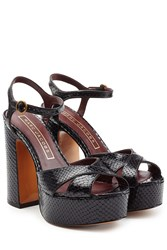 Marc Jacobs Textured Leather Platform Sandals Black