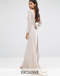 Tfnc Wedding Bow Back Maxi Dress With Long Sleeves Nude Pink