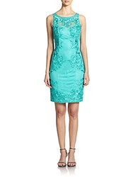Sue Wong Embroidered Lace Sheath Jade