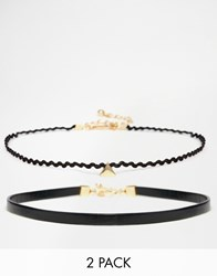 Asos Double Triangle Choker Necklace Black