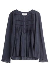 See By Chloe See By Chloe Cotton Peasant Top With Pleating Blue