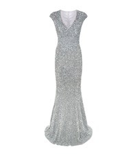 Rachel Gilbert Fleur Sequin Embellished Gown Female Silver