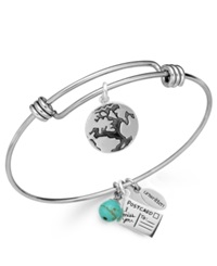 Unwritten Earth Charm And Manufactured Turquoise 8Mm Bangle Bracelet In Stainless Steel