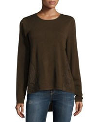 Marled By Reunited Lace Trim Crepe Panel Sweater Olive