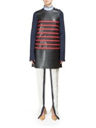 Cedric Charlier Long Sleeves Striped Short Dress Black Navy Red