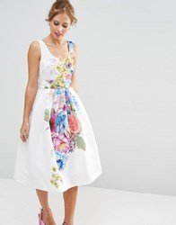 Asos Salon Beautiful Floral Placed Midi Prom Dress Multi