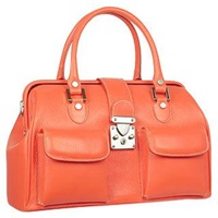 L.A.P.A. Front Pocket Calf Leather Doctor Style Handbag Coral