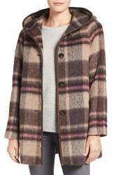 Pendleton Women's 'Phlham Bay' Hooded Wool Blend Coat Brown Pink