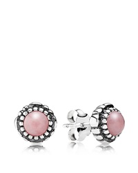 Pandora Design Pandora Earrings Sterling Silver And Pink Opal Birthday Blooms October Stud