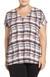Halogenr Plus Size Women's Halogen V Neck Pleat Front Top Ivory Red Broken Plaid