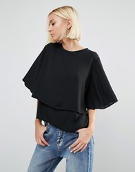 Daisy Street Fluted Sleeve Top Black